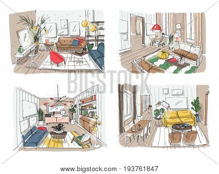 Modern living room interior set. Furnished drawing room collection. Colorful vector illustration sketch on light background