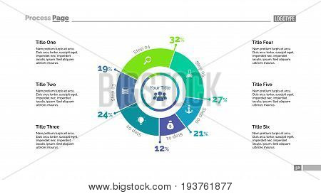 Six sectors doughnut chart slide template. Business data. Percentage, diagram, design. Creative concept for infographic, presentation, report. Can be used for topics like analysis, marketing, finance.