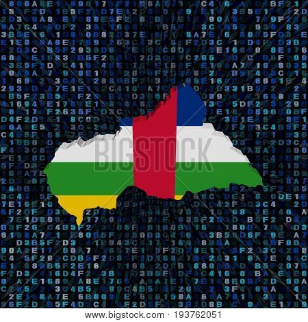 Central African Republic map flag on hex code 3d illustration