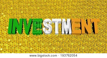 Investment text with Irish flag on coins 3d illustration