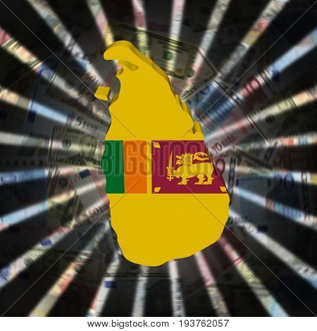 Sri Lanka map flag on currency burst 3d illustration