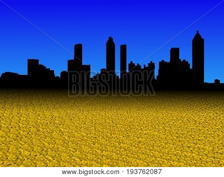 Atlanta skyline with golden dollar coins foreground 3d illustration