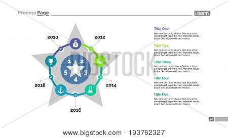Five steps process chart slide template. Business data. Plan, diagram, design. Creative concept for infographic, presentation. Can be used for topics like strategy, management, marketing.