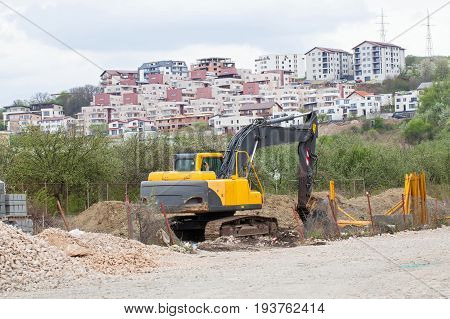 Picture of construction area near blocks in the city outdoor