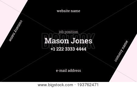 Black and pink business card template. US standard size 3.5x2 in. Withe bleed size 0.125 in. Vector. Minimal and official style. The diagonal concept.