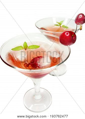 alcohol liqueur cocktails with ice and cherry