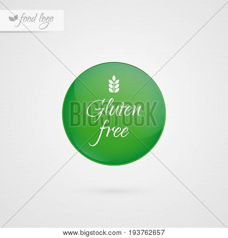 Gluten free label. Food logo icon. Vector green and white sticker sign isolated. Illustration symbol for product packaging healthy eating lifestyle celiac disease advertisement shop menu logo