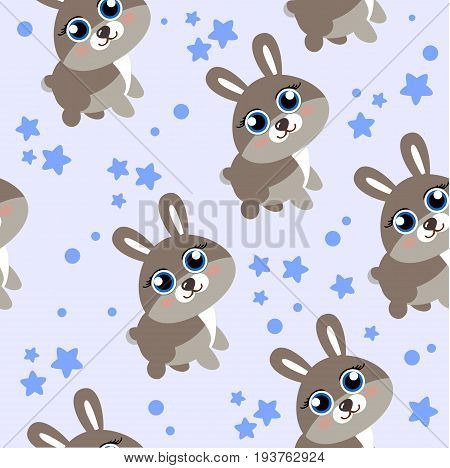 Winter forest background with animals and trees. Seamless pattern. Cartoon hare, seamless background can be used in textiles, polygraph and web design for children s themes