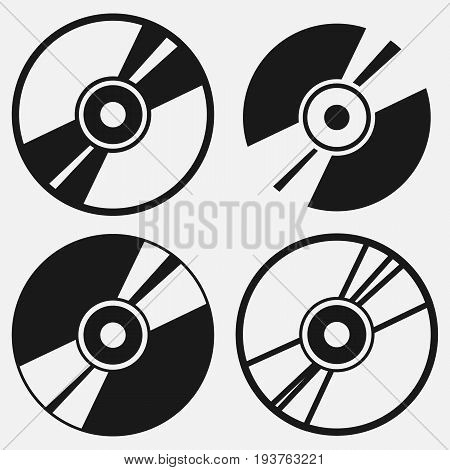 Compact disc icon set. Vector illustration. Eps 10.