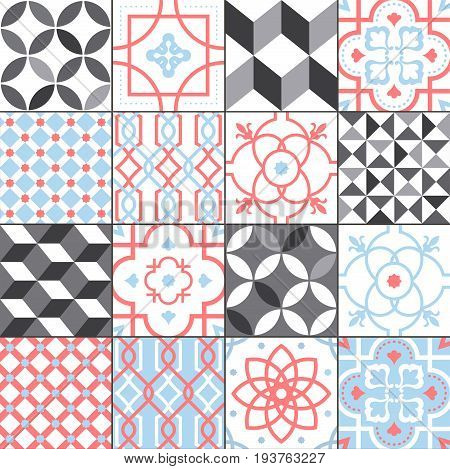 Different tiles pattern collection. Colorful and monochrome tracery set. Traditional and modern ornament vector illustration