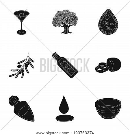 Olives, tree, branch and other products from olives.Olives set collection icons in black style vector symbol stock illustration .