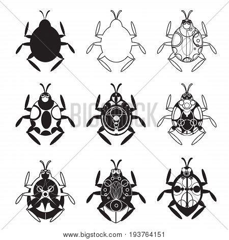 A set of flat beetles. Scarab beetle