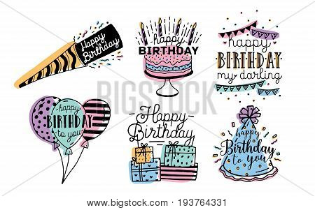 Cute happy birthday greetings inscriptions design collection. Colorful hand drawn lettering vector illustration set on white background