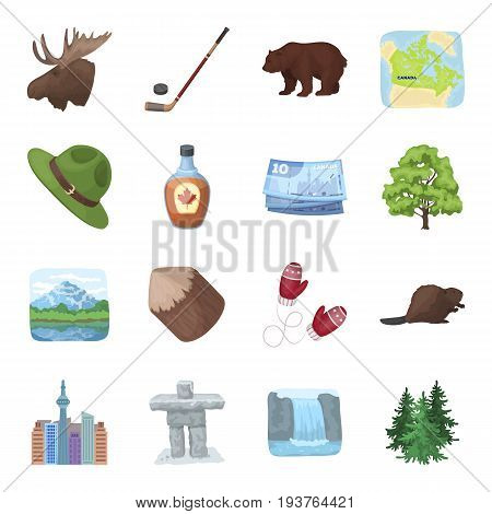 Beaver, syrup, maple, hockey, lakes, nature and other symbols. Canada set collection icons in cartoon style vector symbol stock illustration .