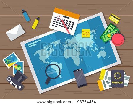 Big world map with different traveling elements on it. Planning of summer vacation route. Vector illustrations in flat style. Top view map journey and travel, passport for summer holiday