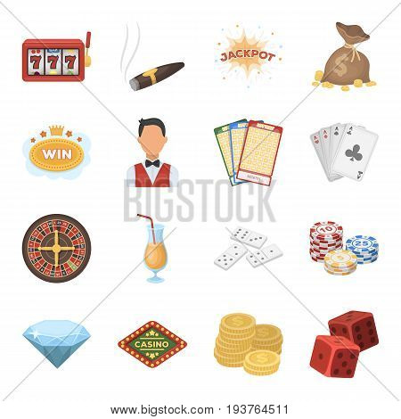 Roulette, cards, croupier, alcohol, and other attributes. Casino and gambling set collection icons in cartoon style vector symbol stock illustration .