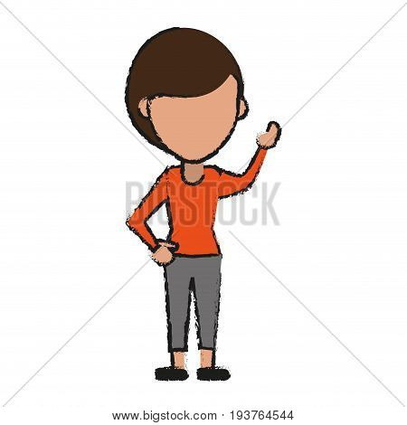 faceless woman stretching arm avatar icon image vector illustration design