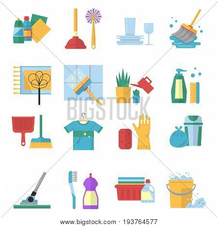 Vector symbols of cleaning services in cartoon style. Brush, dust and bucket. Equipment for household and housekeeping, broom and brush illustration