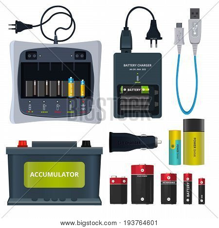 Rechargeable lithium battery and different accumulators isolate on white. Vector illustrations in cartoon style. Power accumulator charge, battery and recharge electric device