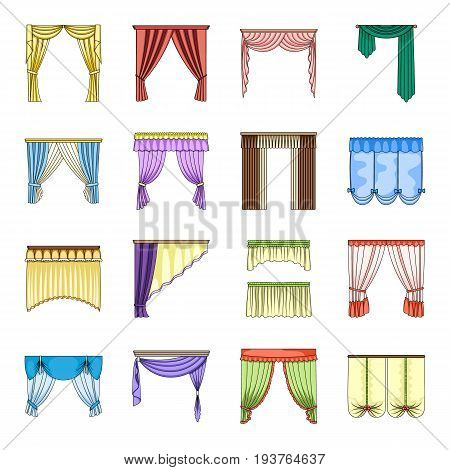 Different kinds of curtains. Curtains set collection icons in cartoon style vector symbol stock illustration .