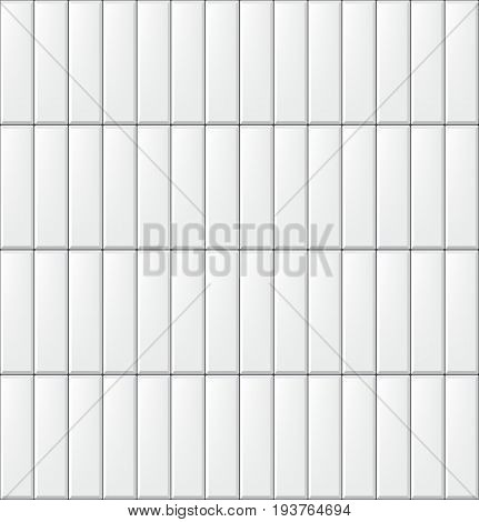 Seamless pattern with modern vertical rectangular white tiles. Realistic texture. Vector illustration
