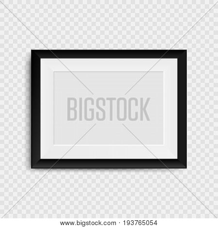 Blank photo frame on the wall. Realistic blank picture frame. isolated on transparent background. Vector illustration. Eps 10.