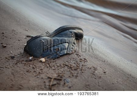 Water Pollution - Garbage Lay On The Coat Of The River - Environmental Problem Caused By Human Activ
