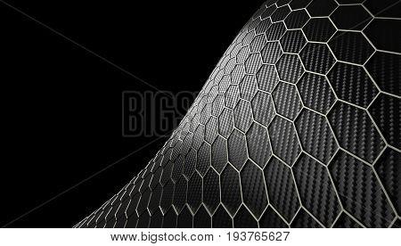 hexagonal carbon fiber background 3d rendering image