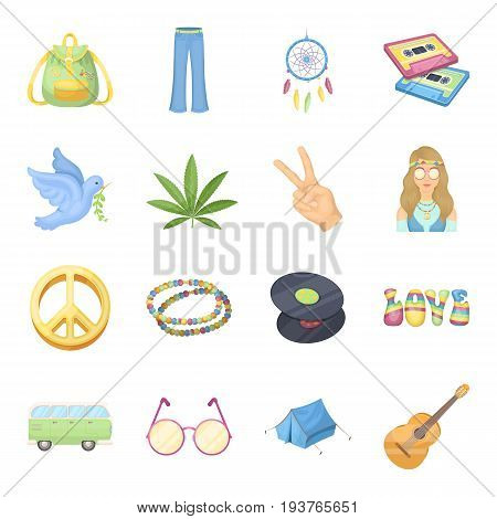 Bus, backpack, beads and other hippy items. Hippie set collection icons in cartoon style vector symbol stock illustration .