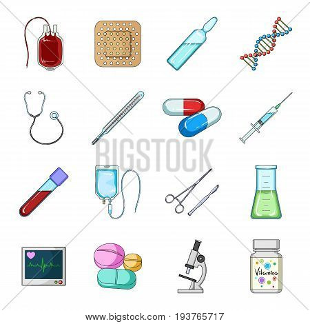 Syringe, scalpel, microscope and other medicine. Medicine set collection icons in cartoon style vector symbol stock illustration .