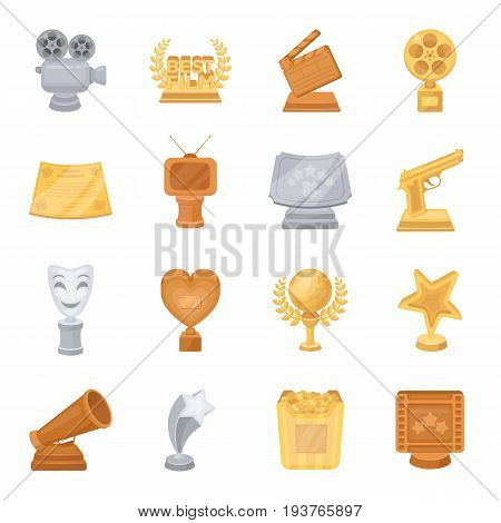 Camera, shout, Globe, objects for rewarding films.Movie Awards set collection icons in cartoon style vector symbol stock illustration.