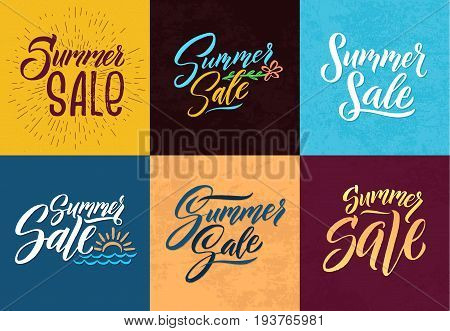 Summer sale. Hand writing words. Vector letters. Summer sale word lettering od set illustration