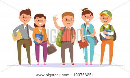 Vector illustration icon group undergraduate student boy and school girl colorful clothes with textbook and backpack standing isolated white background. Cartoon style