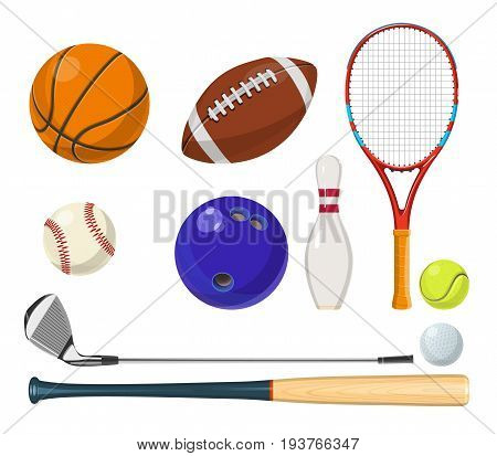 Vector sports equipment in cartoon style. Balls, rackets, golf sticks and other vector illustrations. Sport equipment for golf and tennis