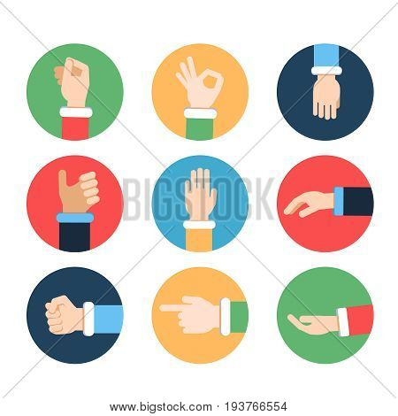 Different hands in action poses. Vector pictures in colored frames. Hand gesture pointing and ok, illustration of positive gesture