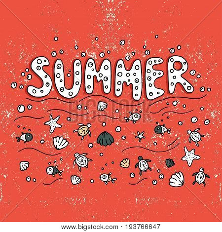 Unique lettering poster with word Summer . Vector art. Trendy handwritten summer illustration for t-shirt design, notebook cover, posters and cards.