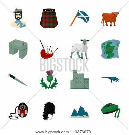 Kilt, bagpipes, thistles are national subjects of Scotland. Scotland set collection icons in cartoon style vector symbol stock illustration .