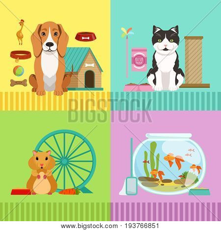 Conceptual illustrations of different pets. Dog, cat, hamster and fishes. Vet room in cartoon style with cute animals dog and cat