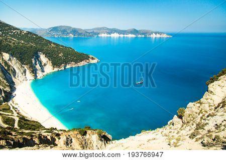 View of beautiful Myrtos bay and idyllic beach on Kefalonia island Greece. Mediterranean sea.