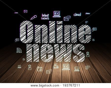 News concept: Glowing text Online News,  Hand Drawn News Icons in grunge dark room with Wooden Floor, black background