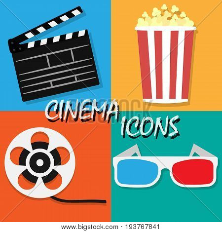 Big open clapper board Movie reel Cinema icon set. Movie and film elements in flat design. Cinema and Movie time flat icons with film reel popcorn 3d glasses clapperboard. Vector illustration.