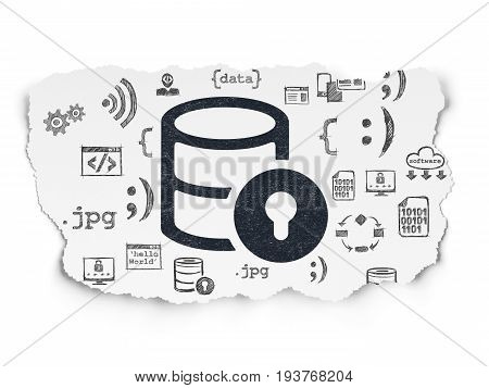 Database concept: Painted black Database With Lock icon on Torn Paper background with  Hand Drawn Programming Icons