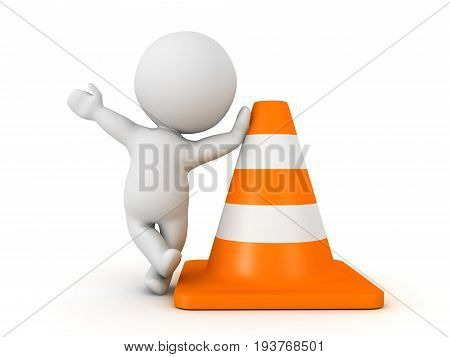 3D Character Waving And Leaning On Orange Traffic Cone