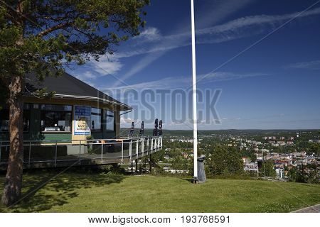 Ornskoldsvik Sweden - July 022017: View over Ornskoldsvik Town in the North of Sweden from the rresturant on the top of the mountain