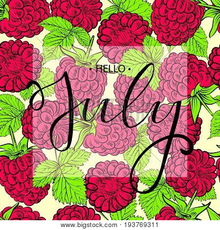 Hello july lettering print with raspberries pattern.