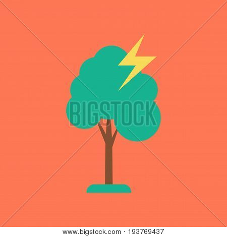 flat icon on stylish background nature lightning tree