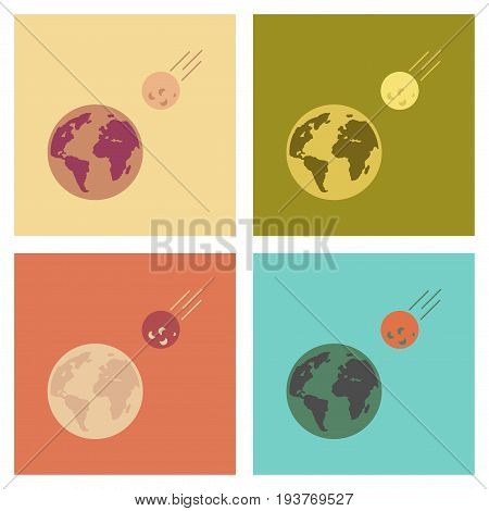 assembly of flat icons nature meteorite earth