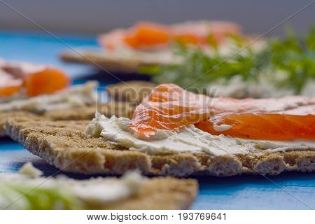 Healthy Lunch, Of Crispbread With Salmon And Cream Cheese
