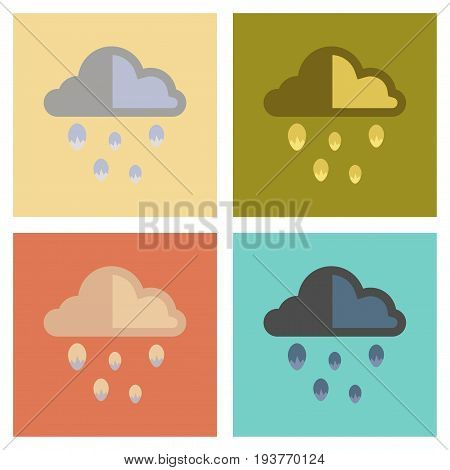 assembly of flat icons nature cloud hail
