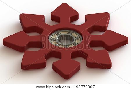 Fidget Spinner. Anti stress and relaxation hand toy. Isolated on a white background 3d illustration.